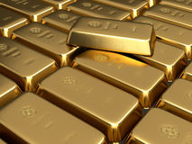 Gold bars. 3d render of stacked gold bars Stock Photos