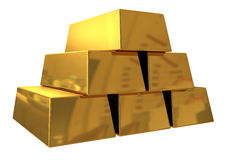 Gold bars. 3d render of gold bars on white background Stock Photography