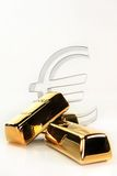 Gold bars. And Euro symbol on a white background Royalty Free Stock Photos