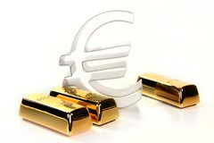 Gold bars. And Euro symbol on a white background stock photo