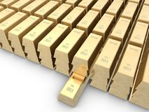 Gold bars. Isolated on white space Stock Image