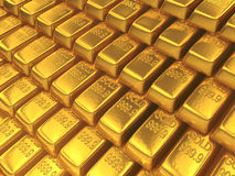 Gold Bars. An array of shiny gold bars Royalty Free Stock Image