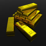 Gold Bars. On black glossy surface. 3D render image Stock Image