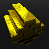 Gold Bars. On black glossy surface. 3D render image Royalty Free Stock Images