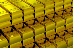 Gold Bars. A lot of Gold Bars.  3D render image Stock Photography