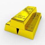 Gold Bars. Isolated on White. 3D render image Stock Image