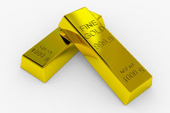 Gold Bars. Isolated on White. 3D render image Stock Images