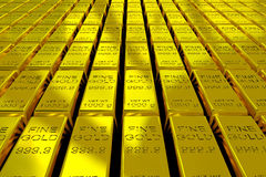 Gold Bars. A lot of Gold Bars on the floor. 3D render image Royalty Free Stock Photo