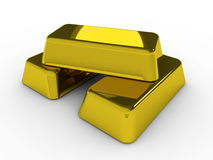 Gold bars. Three shiny gold bars on white Royalty Free Stock Images