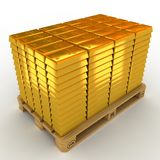 Gold Bars. A lot of Gold Bars on the pallet royalty free illustration