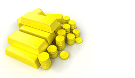 Gold bars. And coins on white background Royalty Free Stock Photos