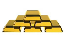 Gold Bars. On white background. 3d rendering Royalty Free Stock Images