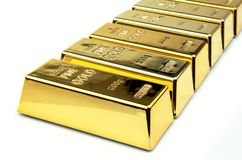 Gold bars. On white background Royalty Free Stock Image