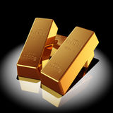 Gold bars. Illuminated spotlight. 3d illustration Royalty Free Stock Image
