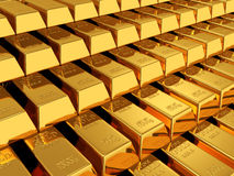 Gold bars. 3d render of gold bars background Stock Photo