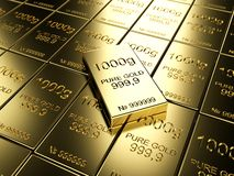 Gold bars. Big number of gold bars Royalty Free Stock Photo