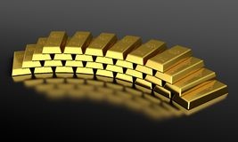 Gold bars. 3d render of gold ingots pyramid on black background Royalty Free Stock Photo