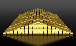 Gold bars. 3d render of gold ingots pyramid on black background Stock Photography