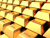 Gold bars. Several gold bars in the vault bank, concept royalty free illustration