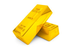 Gold bars. Two Gold bars on a white background Stock Photos