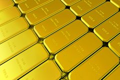 Gold Bars. 10 OZ. fine gold bars Stock Image