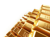 Gold bars. 3d stack of gold bars isolated on white background Stock Photo