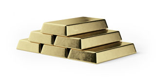 Gold bars. Isolated on a white background Stock Images
