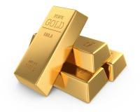 Gold bars. Set of gold bars isolated on white background Stock Photos