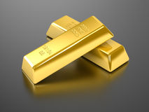 Gold Bars. On reflective surface Stock Images
