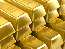 Gold Bars. In multiple raws Royalty Free Stock Photos