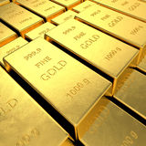 Gold Bars. High resolution 3D rendering Royalty Free Stock Photo