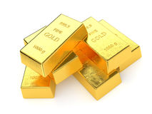 Gold Bars. Isolated on white background. Computer generated image with clipping path Stock Photography