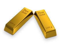 Gold bars (3d render). Two realistic gold bars isolated on a white background Royalty Free Stock Photography