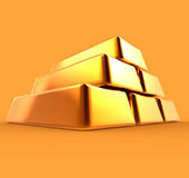 Gold Bars 3D Render Isolated Stock Images