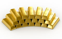 Gold Bars. 3D Render Isolated Royalty Free Stock Images