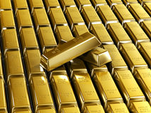 Gold Bars. Fine Gold Bars 3D Render Stock Image