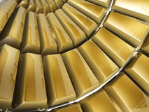 Gold bars. 3d gold bars array on white background Stock Photo