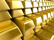 Gold Bars. In a raw Royalty Free Stock Images