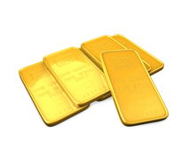 Gold bars. 3d image, gold bars isolated background Royalty Free Stock Photography