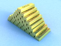 Gold bars. A view of a pile of gold bars on a light blue background stock illustration
