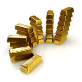 Gold bars abstract graph Stock Photo