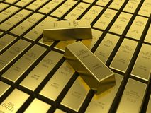 Gold bars. American Gold reserves concept. 3D Stock Photo