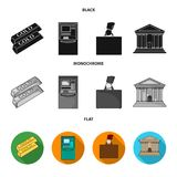 Gold bars, ATM, bank building, a case with money. Money and finance set collection icons in black, flat, monochrome. Style vector symbol stock illustration Stock Photo