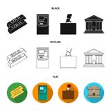 Gold bars, ATM, bank building, a case with money. Money and finance set collection icons in black,flat,outline style. Vector symbol stock illustration Stock Photos