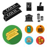 Gold bars, ATM, bank building, a case with money. Money and finance set collection icons in black, flat style vector. Symbol stock illustration Royalty Free Stock Images