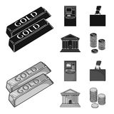 Gold bars, ATM, bank building, a case with money. Money and finance set collection icons in black,monochrome style. Vector symbol stock illustration Stock Photography