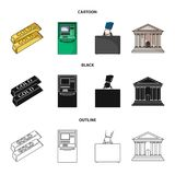 Gold bars, ATM, bank building, a case with money. Money and finance set collection icons in cartoon,black,outline style. Vector symbol stock illustration Stock Image