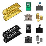 Gold bars, ATM, bank building, a case with money. Money and finance set collection icons in cartoon,black style vector. Symbol stock illustration Stock Images
