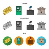 Gold bars, ATM, bank building, a case with money. Money and finance set collection icons in cartoon,flat,monochrome. Style vector symbol stock illustration Stock Image