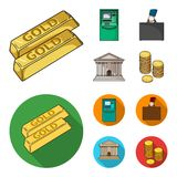 Gold bars, ATM, bank building, a case with money. Money and finance set collection icons in cartoon,flat style vector. Symbol stock illustration Royalty Free Stock Image